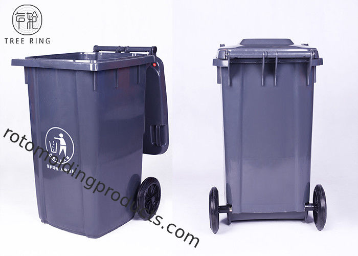 Grey / Green 100Liter Large Plastic Wheelie Bins For Waste Disposal Recycled Outdoor